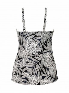 "Love Knot Tankini Top Imprimés Noir et Blanc - Fronds With Benefits - ""M"" - Miraclesuit swimwear"